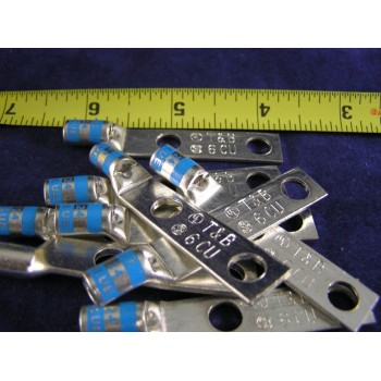 "THOMAS & BETTS 25630695-252 #6 Awg Lugs 2Hole 1/4""Bolt 1""Space Blue W/P(pkg 10)"