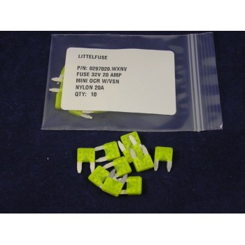 LITTELFUSE 297020 Auto Fuse Mini 20 Amp Yellow Lot of 10 Fuses