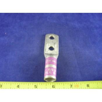 """CEMBRE 4/0 AWG LUG CL4/0D38, 2hole, 3/8""""stud, 1""""center, long barrel, (1ea)"""