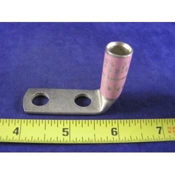 """CEMBRE 1/0 AWG LUG CL1/0D38, 90',  2hole, 3/8""""stud, 1""""center, long barrel, (1ea)"""