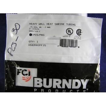 "BURNDY HEATSHRINK TUBING HSB34H2PF25, 3/4' DIA X 2"" LENGTH (1 lot of 30)"
