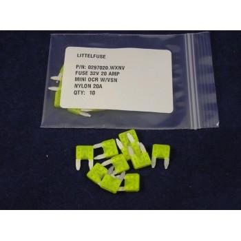 LITTELFUSE 297020 Auto Fuse Mini 20 Amp Yellow Lot of 100 Fuses