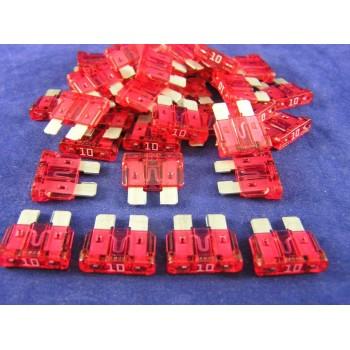 LITTELFUSE 297010 AUTOFUSE MINI 10 AMP RED 100 FUSES